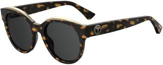 Moschino Mirrored Round Acetate Sunglasses