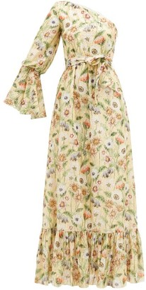 Borgo de Nor Regina Fil-coupe Floral-print Silk-blend Dress - Yellow Multi