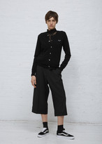 Comme des Garcons Women's Black Heart Crew Neck Cardigan Sweater Size Large 100% Wool