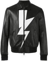 Neil Barrett lightning bolt bomber jacket - men - Leather/Polyester/Viscose - M