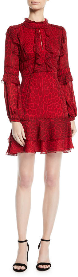 J. Mendel Long-Sleeve Ruffled Leopard-Print Silk Chiffon Cocktail Dress