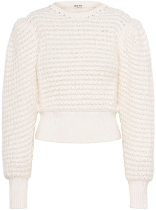 Miu Miu Crystal-Embellished Knitted Jumper