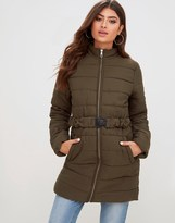 PrettyLittleThing Quilted Belted Coat