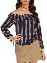 J.o.a. Off-the-Shoulder Long Sleeve Stripe Blouse