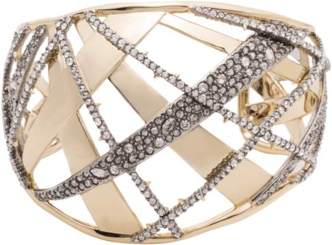 Alexis Bittar Domed Plaid Metal Medium Cuff