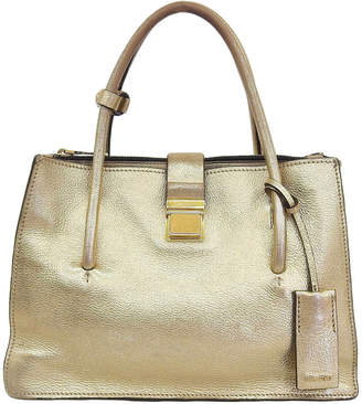 Miu Miu Gold Leather Madras Top Handle Bag