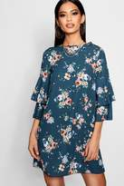 boohoo Annie Floral Check Volume Sleeve Shift Dress