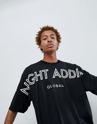 Night Addict Dropped Shoulder Back Print T-Shirt-Black