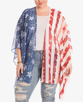 Eyeshadow Trendy Plus Size Flag-Print Kimono Cardigan