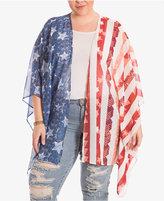 Eyeshadow Trendy Plus Size Flag-Print Kimono Cardigan