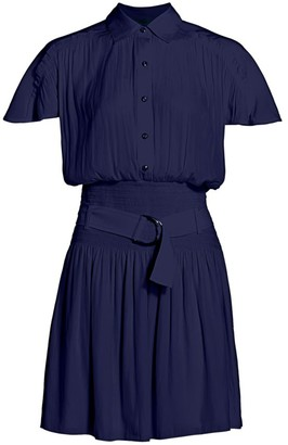 Ramy Brook Stacey Belted Mini Shirt Dress