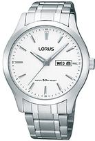 Lorus Rxn25dx9 Day Date Bracelet Strap Watch, Silver/white