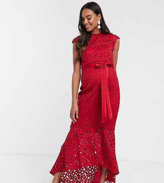 Chi Chi London Maternity crochet lace midaxi dress in red