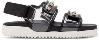 Valentino Black and Transparent Garavani Rockstud Sandals