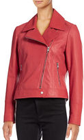 Karl Lagerfeld Paris Washed Leather Moto Jacket