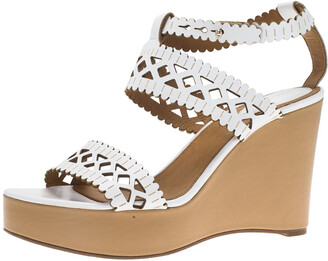 Chloé White Cutout Leather Platform Wedge Sandals Size 40