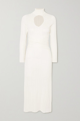 The Line By K Malcolm Belted Cutout Ribbed-knit Turtleneck Midi Dress - Ivory