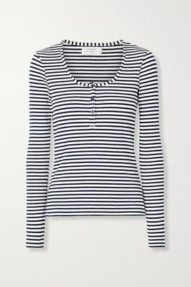 La Ligne Dominique Striped Ribbed Stretch-cotton Jersey Top - White