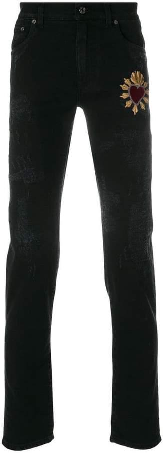 Dolce & Gabbana heart appliqué jeans