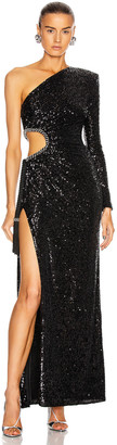 Dundas Sequin Cutout Gown in Black | FWRD