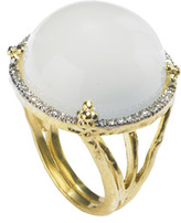 Jolie B Ray Cabachon White Moonstone Cocktail Ring With Diamonds