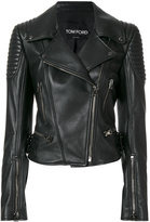 Tom Ford cropped biker jacket - women - Silk/Calf Leather - 40