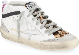 Golden Goose Mid Star Leopard High-Top Sneakers