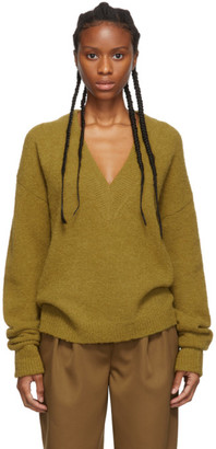 Tibi Tan Alpaca Airy V-Neck Sweater