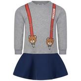 Moschino Girls Grey Teddy Braces Dress