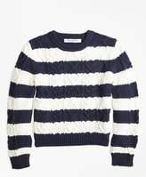 Brooks Brothers Cotton Aran Stripe Sweater