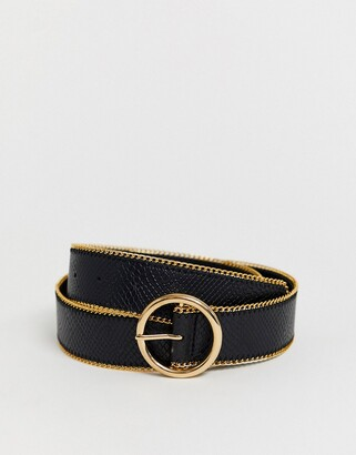 Asos DESIGN gold chain edge circle buckle waist and hip jeans belt in black
