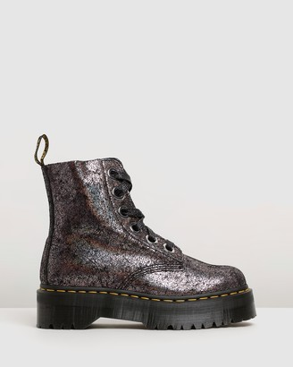 Dr. Martens Womens Molly 8-Eye Iridescent Crackle Boots
