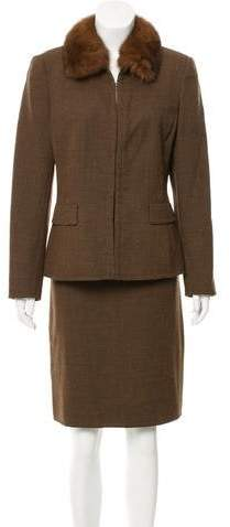 Akris Fur-Trimmed Wool Skirt Suit