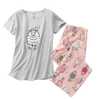 Women's Pajama Sets Sleepwear Capri Pants with Short Tops Sleepwear Ladies Sleep Sets