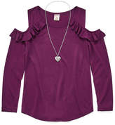 Arizona Ruffle Cold Shoulder Top w/ Necklace - Girls' 7-16 and Plus