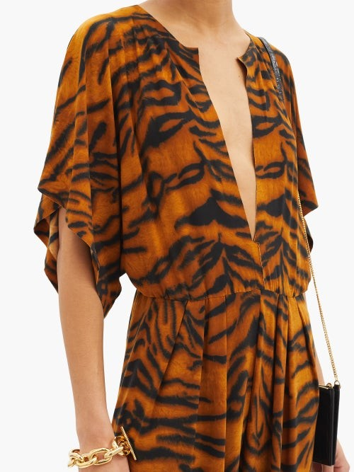 Thumbnail for your product : Norma Kamali V-neck Tiger-print Jersey Jumpsuit - Animal
