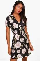 Boohoo Joanna V Neck Belted Floral Tea Dress