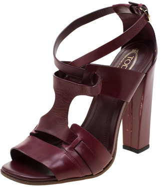 Tod's Burgundy Leather Cross Ankle Strap Block Heel Sandals Size 36.5
