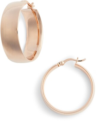 Argentovivo Flat Edge Hoop Earrings