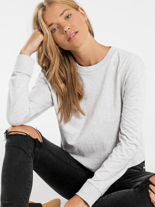 Nude Lucy Xavier Crop Long Sleeve BF T-Shirt in Grey Marle