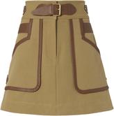 Derek Lam 10 Crosby Leather Trimmed Khaki Skirt Beige 00