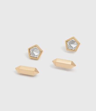 AllSaints Erin Gold Tone Semi-Precious Crystal Quartz Stud Set