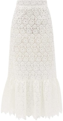 Miu Miu Tiered Cotton-blend Lace Midi Skirt - White