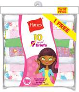 Hanes Girls` ComfortSoft 10-Pack No Ride Up Briefs, PA13BB