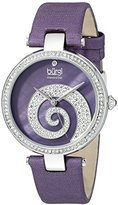 Burgi Women's BUR143PU Round Purple Mother of Pearl and Silver Dial with Swarovski Crystals Quartz Movement Satin Strap Watch