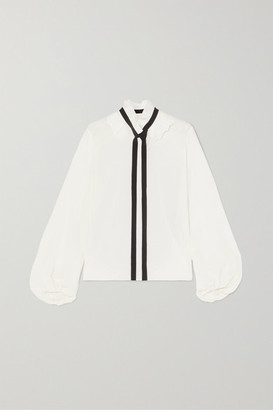 Chloé Ruffled Pussy-bow Silk Crepe De Chine Blouse - Ivory