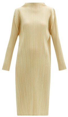 Pleats Please Issey Miyake High-neck Technical-pleated Midi Dress - Cream
