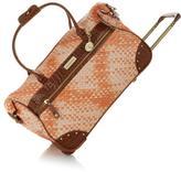 Samantha Brown Basket Weave Wheeled Weekender Bag