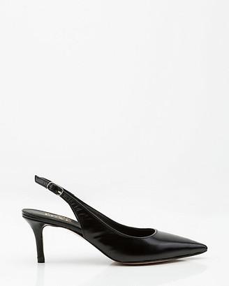 Le Château Italian-Made Leather Pointy Toe Slingback