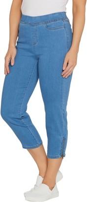 Denim & Co. Petite Soft Stretch Pull On-Indigo Crop Jean